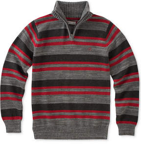 Calvin Klein Halt-Stripe Quarter-Zip Cotton Sweater, Big Boys (8-20)