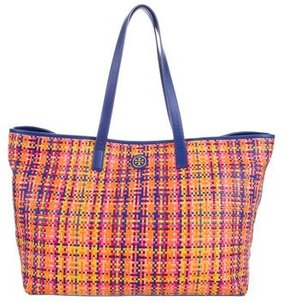 Tory Burch Woven Leather Tote - BLUE - STYLE