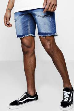 boohoo Slim Fit Denim Shorts With Jersey Waistband