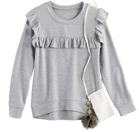 Knitworks Girls 7-16 Ruffle Pullover with Crossbody Purse