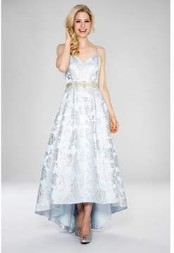 Cachet Spaghetti Strap V-neck Brocade Gown With Slightly Longer Hi/low Detail..