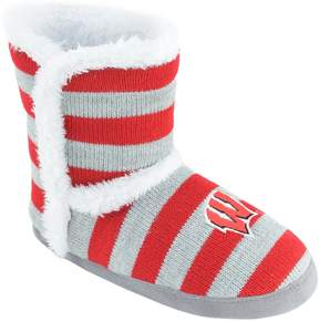 NCAA Women's Wisconsin Badgers Striped Boot Slippers