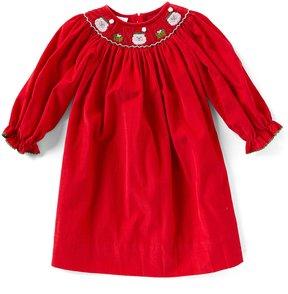 Edgehill Collection Little Girls 2T-4T Christmas Smocked Santa Dress