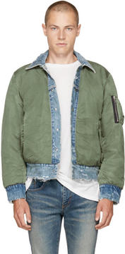 Amiri Reversible Indigo and Green Trucker Bomber Jacket