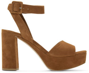 Miu Miu Tan Suede Platform Sandals
