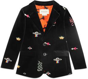 Gucci Children's embroidered velvet jacket