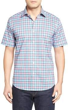Bugatchi Shaped Fit Check Short Sleeve Sport Shirt