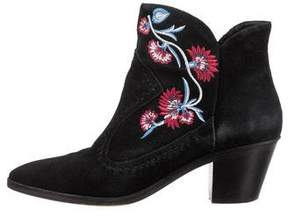 Rebecca Minkoff Embroidered Suede Ankle Boots