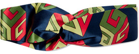 Gucci - Twisted Printed Silk-satin Headband - Navy