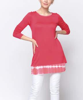 Celeste Coral Stripe Layered Split-Back Tunic - Women