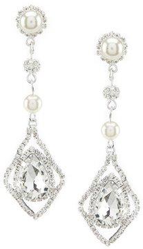 Cezanne Faux-Pearl & Rhinestone Halo-Framed Teardrop Earrings