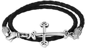 King Baby Studio Men's Braided Leather Cross Bracelet