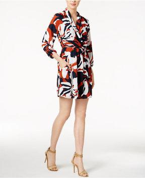 Bar III Printed Surplice Dress, Created for Macy's