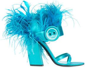 Prada 110 ostrich feather sandals
