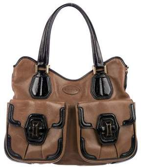 Tod's Leather Turn Lock Hobo