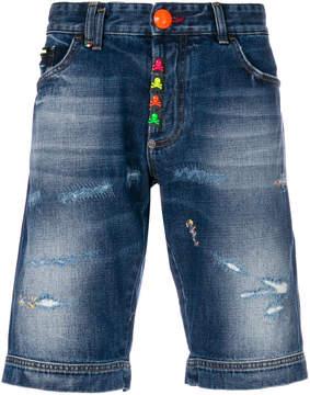 Philipp Plein Stop Me denim shorts