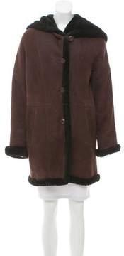 Bloomingdale's Hooded Shearling Coat