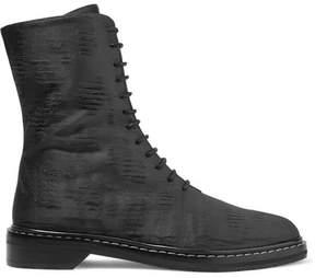 The Row Fara Distressed Satin Ankle Boots - Dark gray