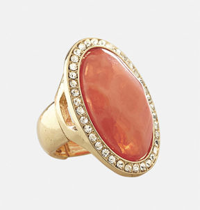 Avenue Coral Oval Stretch Ring