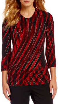Allison Daley Crew Neck 3/4 Sleeve Print Pucker Knit Top
