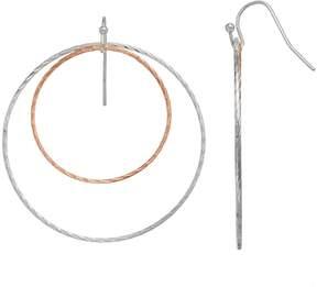 Lauren Conrad Two Tone Twisted Nickel Free Double Hoop Earrings