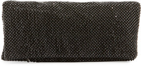 Neiman Marcus Mesh Crystal Fold-Over Clutch Bag, Black