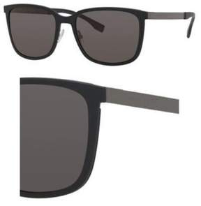 HUGO BOSS BOSS by Men's B0723S Rectangular Sunglasses, Black Dark Ruthenium/Gray, 56 mm