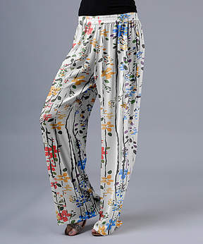 Lily White & Red Blossom Palazzo Pants - Women & Plus