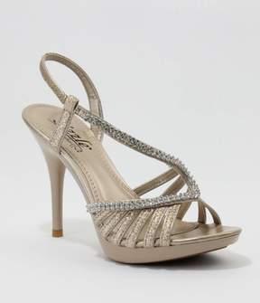 Unique Vintage Nude Danube Glitter & Stone Strap Platform Sandals