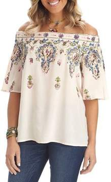 Democracy Off-the-Shoulder Embroidered Top