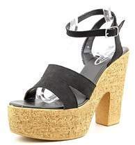 Callisto Womens Delta Leather Open Toe Ankle Wrap Platform Pumps.