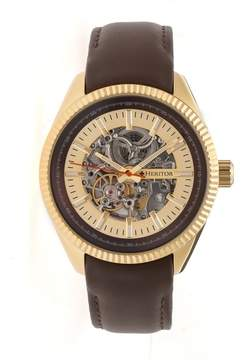 Heritor Desmond Gold-tone Skeleton Dial Brown Padded Leather Strap Automatic Men's Watch