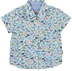 Paul Smith DINOSAUR-PRINT SLUB COTTON SHIRT