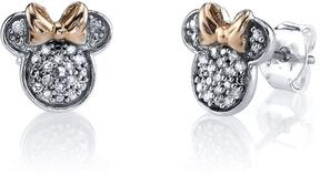 Disney Two-Tone Rose Gold and Silver Minnie Mouse Earrings with Diamond Accents