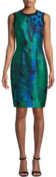 Carmen Marc Valvo Women's Abstract Jacquard Sheath Dress