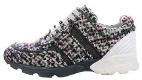 Chanel Round-Toe Tweed Sneakers