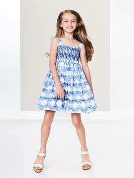 Oscar de la Renta Leaf Grid Smocked Cotton Dress