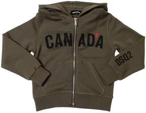 DSQUARED2 Canada Hooded Zip-Up Cotton Sweatshirt