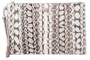 Michael Kors Snakeskin Zip Clutch