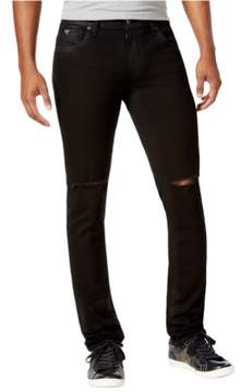 GUESS Mens Ripped Skinny Fit Jeans Black 40x32