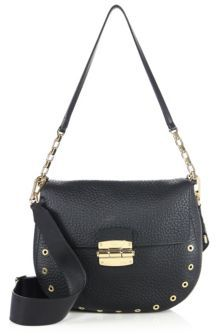 Furla Club Grommeted Leather Saddle Crossbody Bag