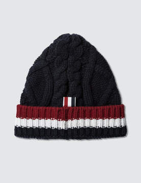 Thom Browne Fine Merino Wool Aran Cable Beanie with RWB Cuff Stripe