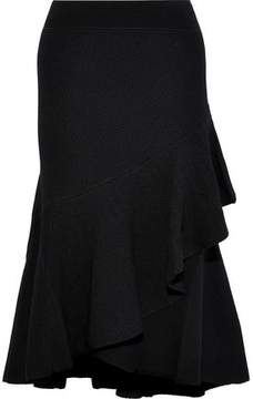 Temperley London Brisé Wrap-Effect Ruffled Stretch-Knit Midi Skirt