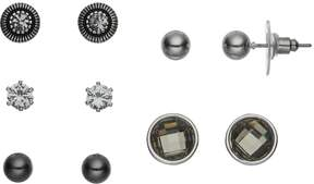 Ball Two Tone Cubic Zirconia & Stud Earring Set