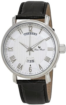 Lucien Piccard Silver Dial Black Leather Men's Watch