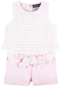 Andy & Evan Girls' Pink Eyelet Easter Romper