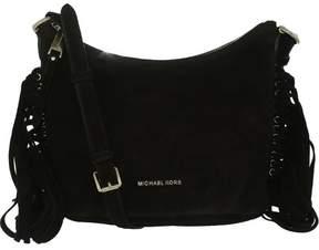 Michael Kors Women's Medium Billy Suede Messenger Bag Leather Cross Body Tote - Black - BLACK - STYLE