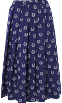 Comme des Garcons Printed Poplin Midi Skirt - Navy