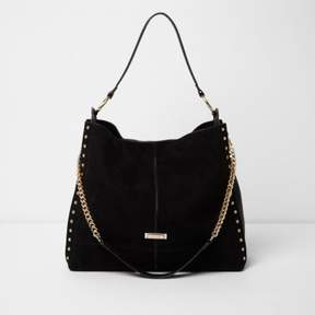 River Island Womens Black studded oversized slouch chain bag