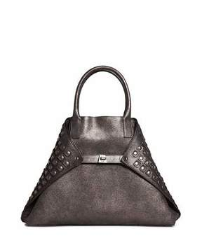 Akris Ai Medium Grid-Studded Top-Handle Bag